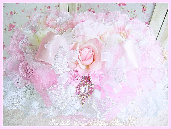 Shabby Pink Rose & Peony Decorative Box