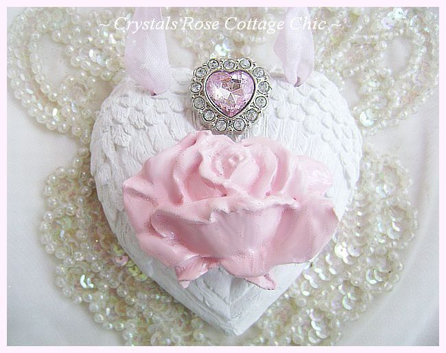 Shabby Pink Rose Angel Wings Heart Ornament