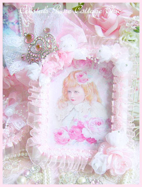 Shabby Pink Princess Rhinestone Crown Frame