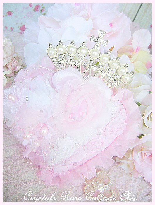 Pearl Crown Shabby Pink Heart Ornament