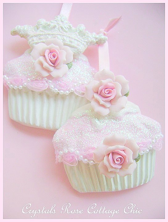 Shabby Pink Rose Cupcake Ornaments