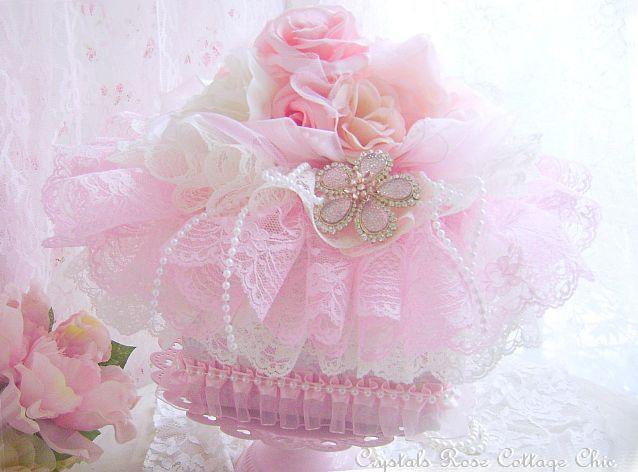 Shabby Pink Rose Decorative Box