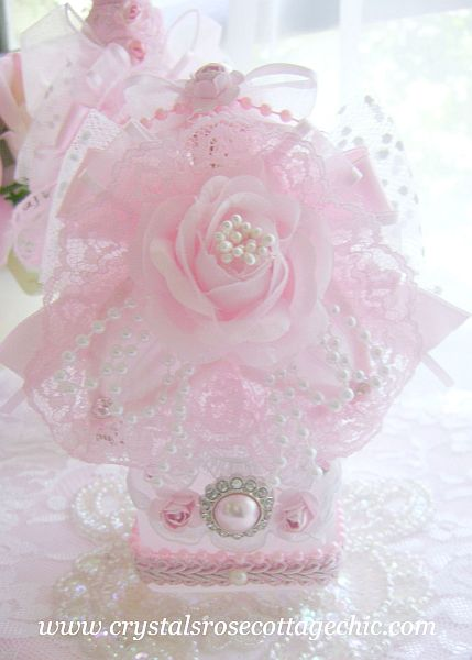 Embellished Pink Rose Bottle