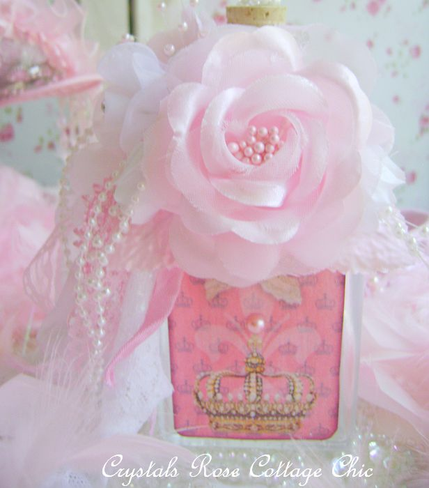 Shabby Pink Crown Fleur De Lis Bottle