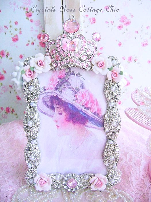Pink Rhinestone Jeweled Crown Frame