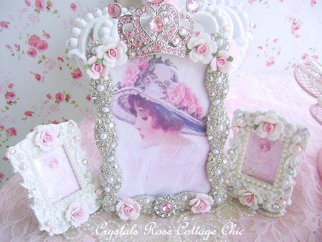 Pink Rhinestone Jeweled Crown Frame