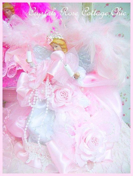 Shabby Pink Rose Princess Angel Tree Topper