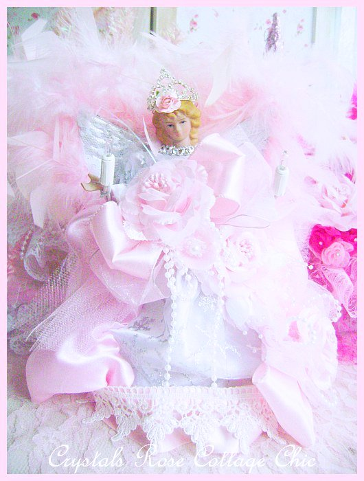 Shabby Pink Rose Princess Angel Tree Topper