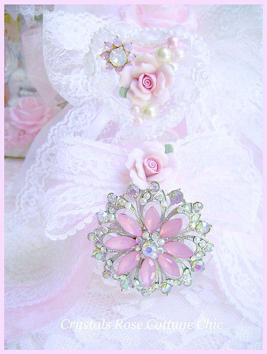 Crystal Heart Pink Rose Perfume Bottle