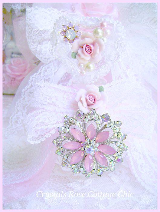 Crystal Heart Pink Rose Perfume Bottle