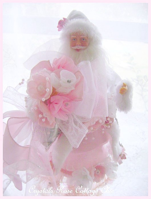 Shabby Pink Santa Mini Tree Topper