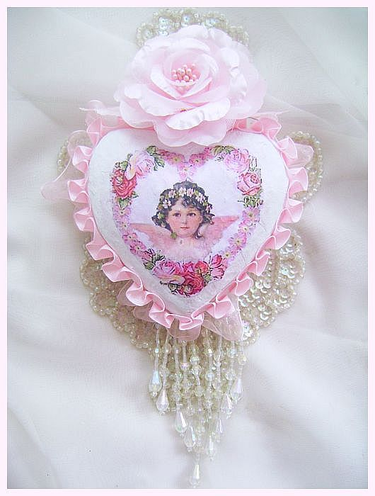 Shabby Rose Vintage Cherub Heart Ornament