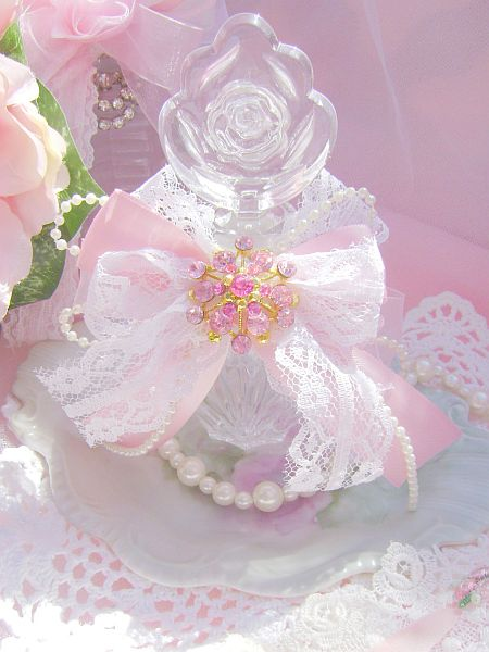 Shabby Pink Rose Bejeweled Vintage Perfume Bottle