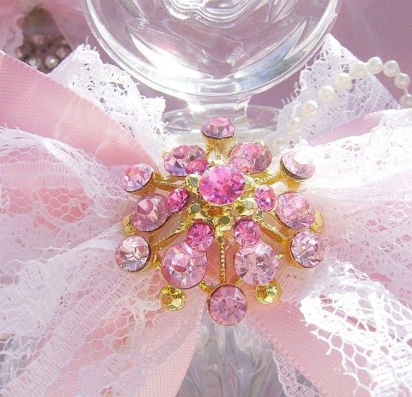 Shabby Pink Rose Bejeweled Vintage Perfume Bottle