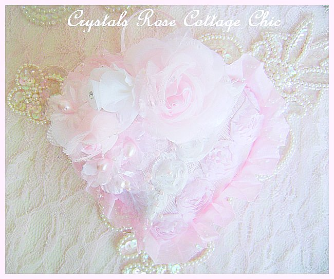Shabby Rose Love Heart Ornament