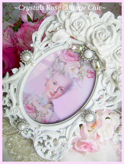 Shabby Roses,Pearls and Iridescent Rhinestones Frame
