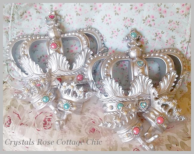 Silver Fleur de Lis Bed Crown Set with Turquoise or Hot Pink