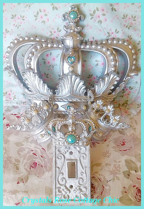 Silver Fleur de Lis Bed Crown Set , Embellishment Choices