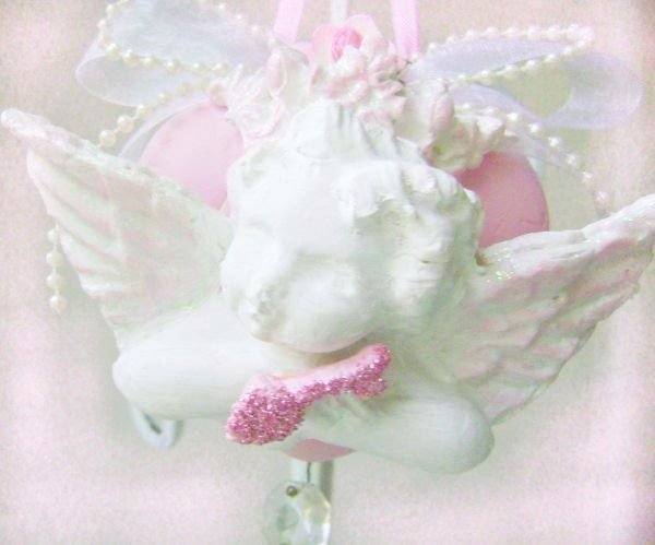 French Chic Shabby Pink Crowned Cherub Clay HeartOrnament