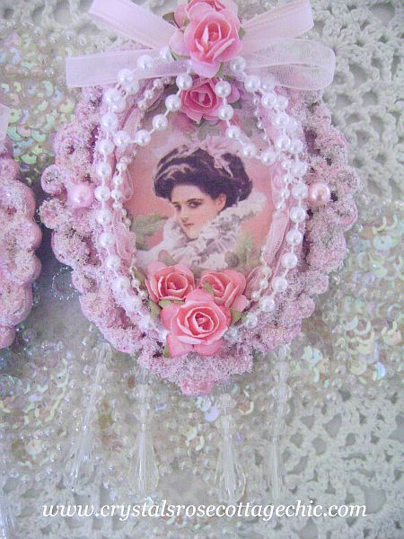 Victorian Lady Pink Frame Ornament
