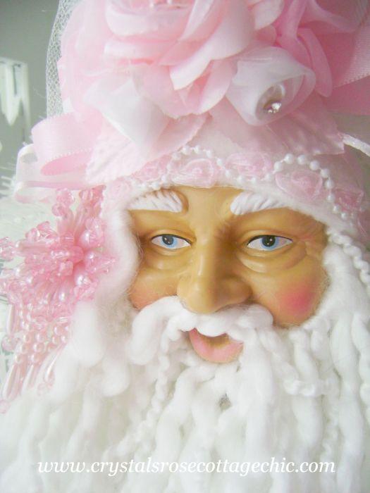 Pink Damask Victorian Santa Ornament