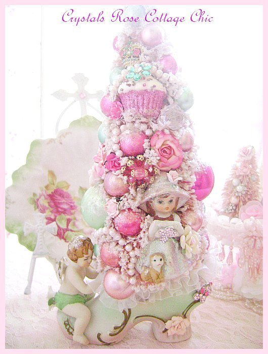Shabby Pink Bottle Brush Tree Vintage Cherub