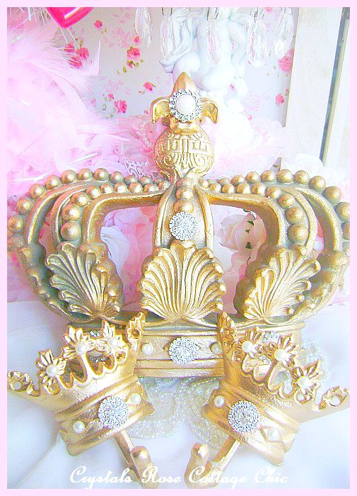 Vintage Gold Fleur de Lis Bed Crown Set Crystal Rhinestone