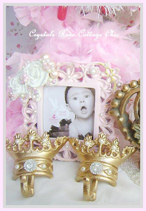 Vintage Gold Fleur de Lis Bed Crown Set Crystal Rhinestone