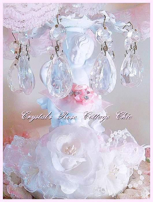 Vintage Crystal Shabby Chic Cherub Lamp