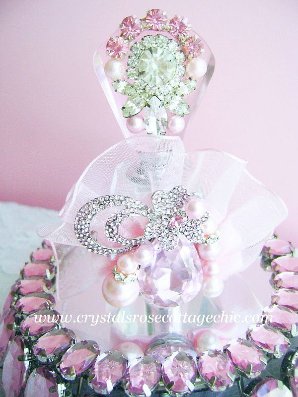 Vintage Bejeweled Pink Luxury Perfume Bottle
