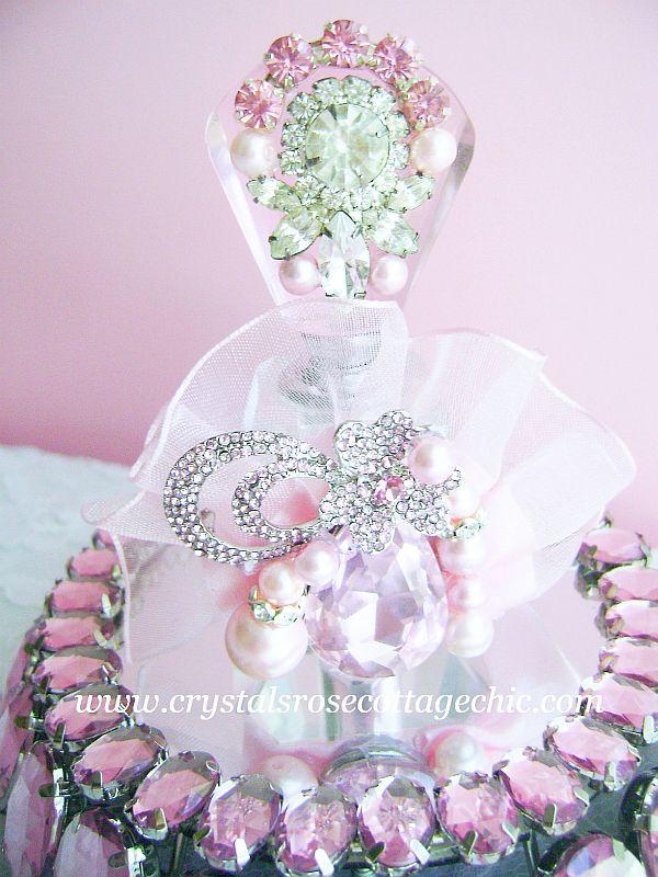 Vintage Bejeweled Pink Luxury Perfume Bottle