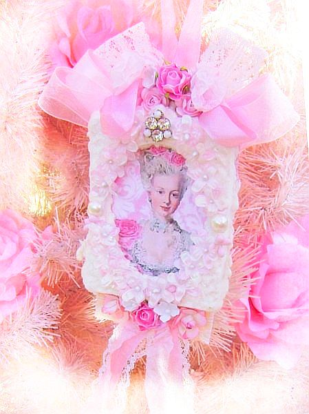 French Chic, Pink Roses and Pearls Vintage Marie Tag