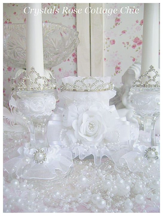Royal Rhinestone Crown White Candle Set