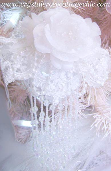 White Rose Beaded Fringe Ornament