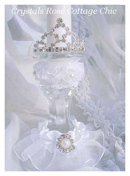 Wedding Unity Candle Set Rhinestone Tiara