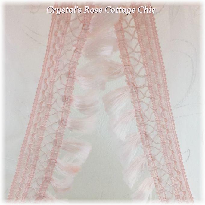 "84"" Pink Tassel Fringe Embroidered White Sheers"