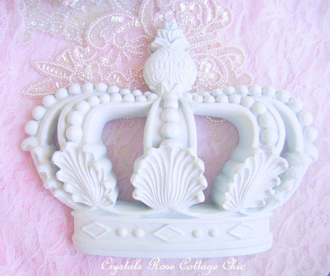 Lovely Shabby Cottage Chic White Crown Wall Decor