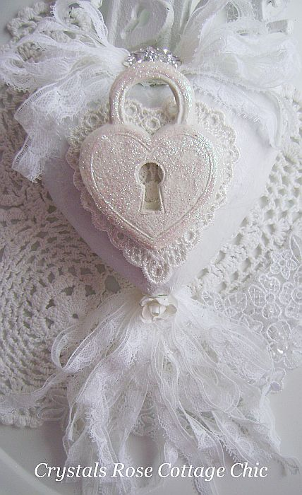 White on White Shabby Chic Heart Ornament