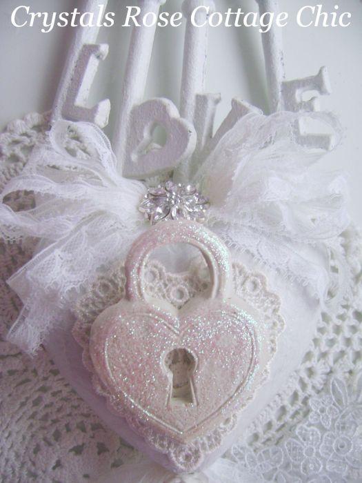 White on White Shabby Chic Heart Ornament