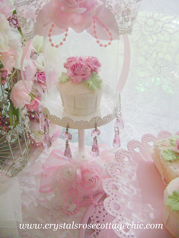 White Cupcake Stand  with Pink Crystals